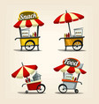 isolated cartoon street food cart fast food snack vector image vector image