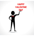 Man holding happy valentine day text vector image
