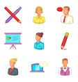 management of a company icons set cartoon style vector image vector image
