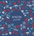 maritime yacht club round frame poster vector image