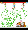 maze with kids and toys educational game vector image