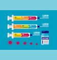 medical ampoule vaccine and syringe infographic vector image