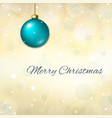 merry christmas blue background 3d blue bauble vector image