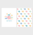 pastel colors little elephants pattern and card vector image