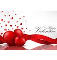 red heart background with red ribbons vector image