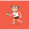 running man with sport activity tracking vector image