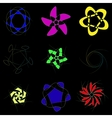Schematic flowers on a black background vector image