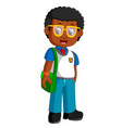 school boy cartoon walking vector image vector image