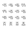 Set line icons of helicopter vector image vector image