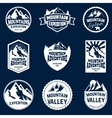 Set of mountains hiking and outdoor adventures vector image vector image
