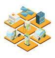 station of electric machines isometric 3d vector image