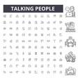 talking people line icons signs set vector image vector image