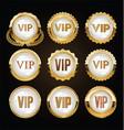 vip golden badges on black background vector image
