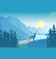 winter mountain landscape with deer near lake vector image vector image