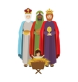 Wise man with offering a baby jesus vector image vector image