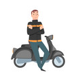 young man standing beside his scooter cartoon vector image vector image