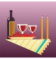 Table for two with cloth glasses bottle of wine vector image