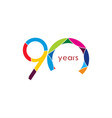 90 year anniversary template design vector image