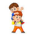 a happy little boy carrying her brother vector image vector image