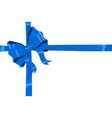 blue ribbon bow wrapped over giftbox vector image vector image