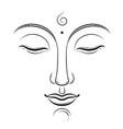 buddha face art buddhism yoga sacred vector image vector image