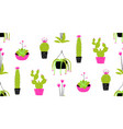 cactus and succulent in pots seamless pattern vector image vector image