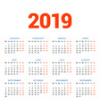 calendar for 2019 year on white background week vector image vector image