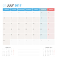 Calendar Planner for July 2017 vector image vector image