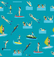 Cartoon water sport and characters people seamless