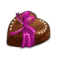 Chocolate heart with pink bow and pearls vector image