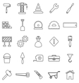 Construction line icons on white background vector image vector image