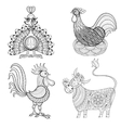 Cow Chicken in nest Rooster Turkey for adult vector image vector image