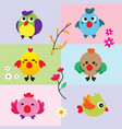 cute birds with flower vector image vector image