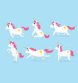 cute unicorns character set of six vector image vector image