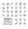 ecology green technology organic outline icons vector image vector image