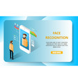 face recognition landing page website vector image vector image