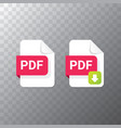 flat pdf file icon and pdf download vector image