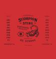 font scorpion sting craft retro vintage typeface vector image vector image