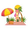 girl with summer swimwear design vector image