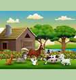 happy farm animal playing outside the cage vector image