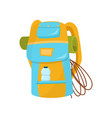 hiking backpack with rope camping mat and bottle vector image vector image