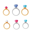 Jewelry Set of Rings with Gems of Different Colors vector image vector image