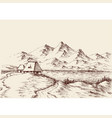 lake in mountains landscape sketch vector image vector image