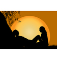 Lovers at sunset vector image
