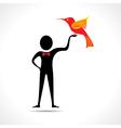Man holding a bird icon vector image vector image