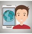 man smartphone world isolated icon design vector image vector image