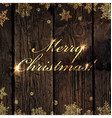Merry Christmas Golden Greeting on Wooden vector image vector image