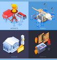 museum isometric design concept vector image vector image