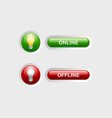 Online and offline buttons vector image vector image
