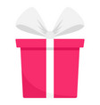 pink gift box icon flat style vector image vector image